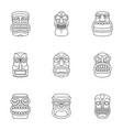 african populace icons set outline style vector image