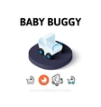 Baby buggy icon in different style vector image vector image