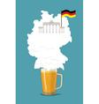Beer with foam silhouette German map Brandenburg vector image
