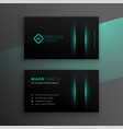 black business card design with turquoise color vector image vector image