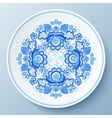 Blue plate with floral ornament vector image vector image