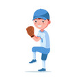 boy baseball player is preparing to throw a ball vector image vector image