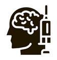 brain syringe injection vaccine headache vector image vector image