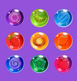 bright colorful glossy candies with sparkles for vector image
