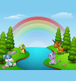 cartoon funny animals collection by the river illu vector image