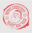 christmas stamp with cute santa claus face with vector image vector image