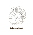 Coloring book turkey cartoon vector image