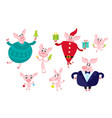 cute cartoon pig with christmas elements isolated vector image vector image