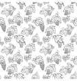 doodle seamless pattern with grape and leaves vector image vector image