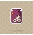 Eye glass jar icon Halloween sticker