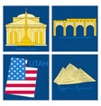 famous place and monument around the world vector image vector image