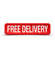 free delivery red 3d square button isolated on vector image vector image