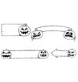 hand drawing set of halloween frames with cartoon vector image