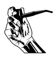hand with pipe vector image vector image
