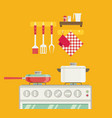 interior of kitchen pans on the stove cooking in vector image vector image