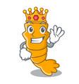 king steamed fresh raw shrimp on mascot cartoon vector image
