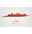 lodz skyline in red vector image vector image