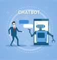 man chatting with chatter bot from smart phone vector image vector image