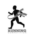 Monochrome running competition logotype emblem