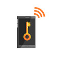 phone with key sign on black screen and wi fi vector image vector image
