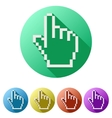 Pixel cursor flat icon click mouse hand vector image vector image