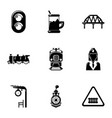 railway steward icons set simple style vector image vector image