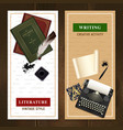 realistic literature objects vertical banners vector image