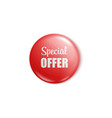 red round button pin for special offer sale vector image vector image