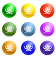 rose icons set vector image vector image