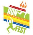 run fest colorful poster best marathon jriginal vector image vector image