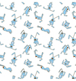 Seamless pattern with doodle rabbits vector image vector image