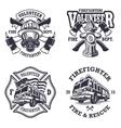 set firefighter emblems vector image vector image