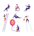 set male and female business people climbing vector image vector image