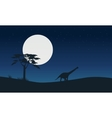 Silhouette of argentinosaurus with moon landscape vector image vector image