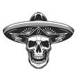 skull in mexican sombrero hat vector image vector image