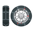 snow chains on tire tire with mounted snow chains vector image vector image