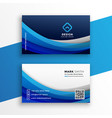 stylish blue wavy business card modern template vector image vector image