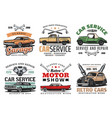 Vintage cars and tools repair service icons