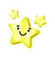 yellow bright glossy smiling star mascot cartoon vector image vector image