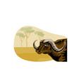 African Buffalo Retro vector image vector image