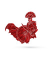 angry spartan warrior with sword and shield vector image vector image