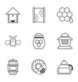 beekeeping tools icons set outline style vector image vector image