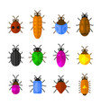 bugs and insects icons set cute cartoon style vector image