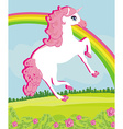Card with a cute unicorn vector image vector image