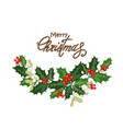 christmas card with holly vector image vector image