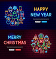 christmas neon website banners vector image