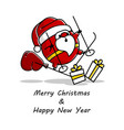 clumsy santa rushes on skis to give gifts vector image