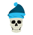 cool skull with winter hat cartoon isolated vector image vector image
