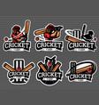 cricket logo and badge set image vector image