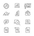 data analysis line icons set black editable vector image vector image